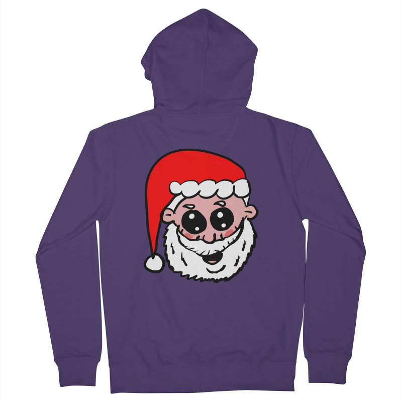 Cute Santa Head Women's French Terry Zip-Up Hoody by ericallen's Artist Shop
