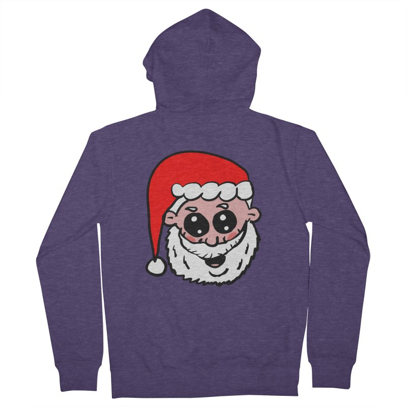 Cute Santa Head Men's French Terry Zip-Up Hoody by ericallen's Artist Shop