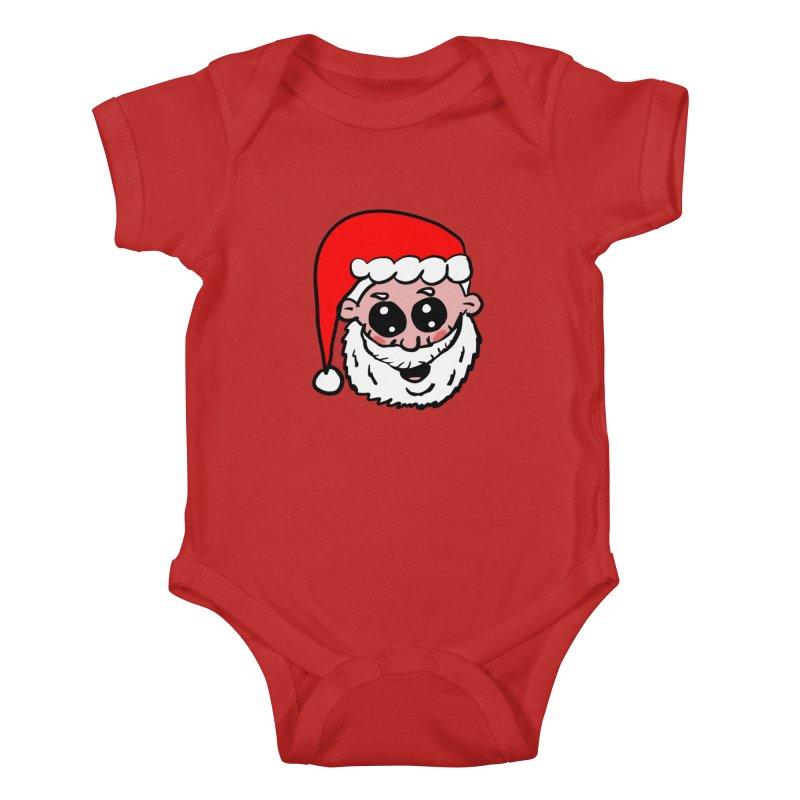 Cute Santa Head Kids Baby Bodysuit by ericallen's Artist Shop