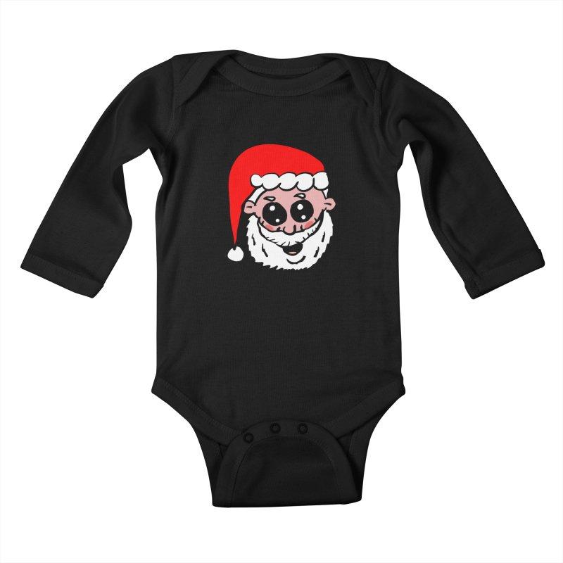 Cute Santa Head Kids Baby Longsleeve Bodysuit by ericallen's Artist Shop