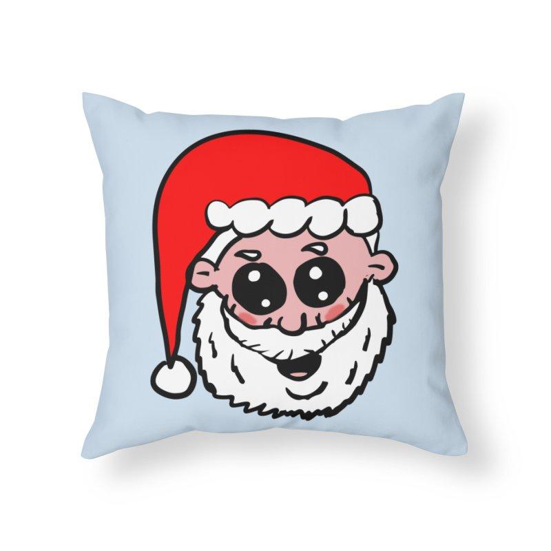 Cute Santa Head Home Throw Pillow by ericallen's Artist Shop