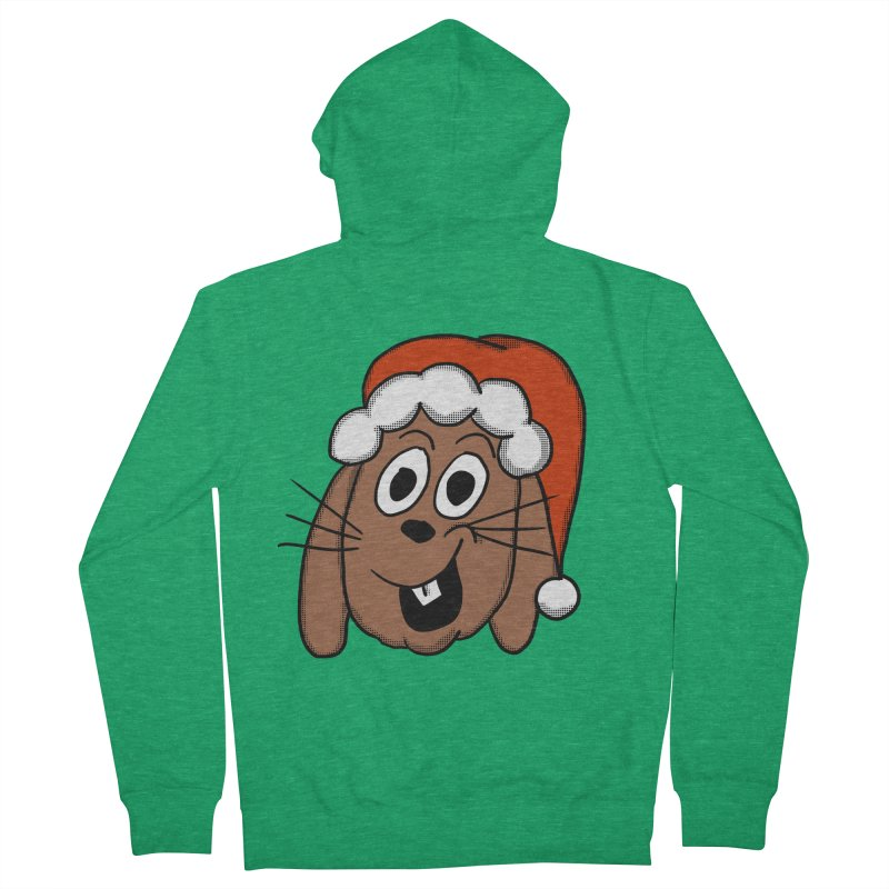 Santa Bunny Men's French Terry Zip-Up Hoody by ericallen's Artist Shop