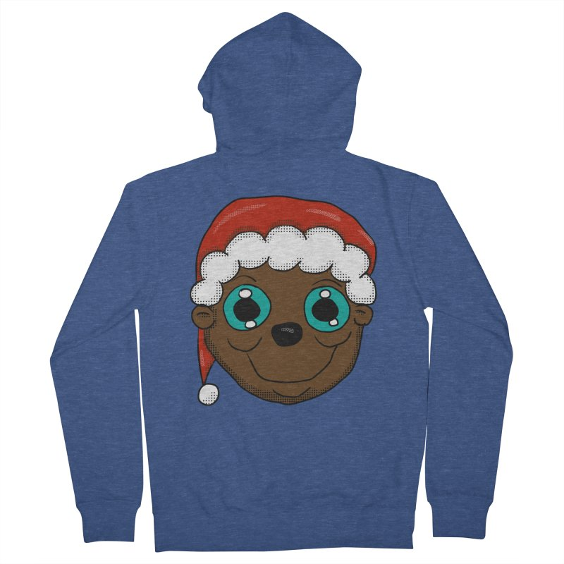 Christmas Monkey Women's French Terry Zip-Up Hoody by ericallen's Artist Shop