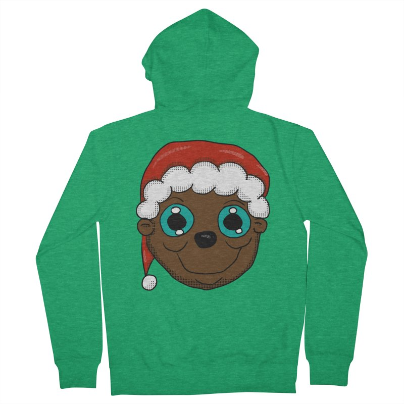 Christmas Monkey Men's French Terry Zip-Up Hoody by ericallen's Artist Shop