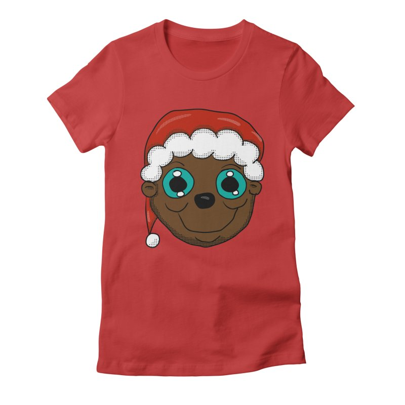 Christmas Monkey Women's Fitted T-Shirt by ericallen's Artist Shop