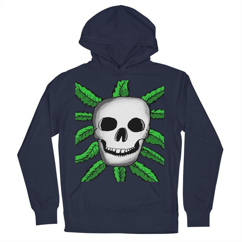 Marijuana Leaves Skull Women's French Terry Pullover Hoody by ericallen's Artist Shop