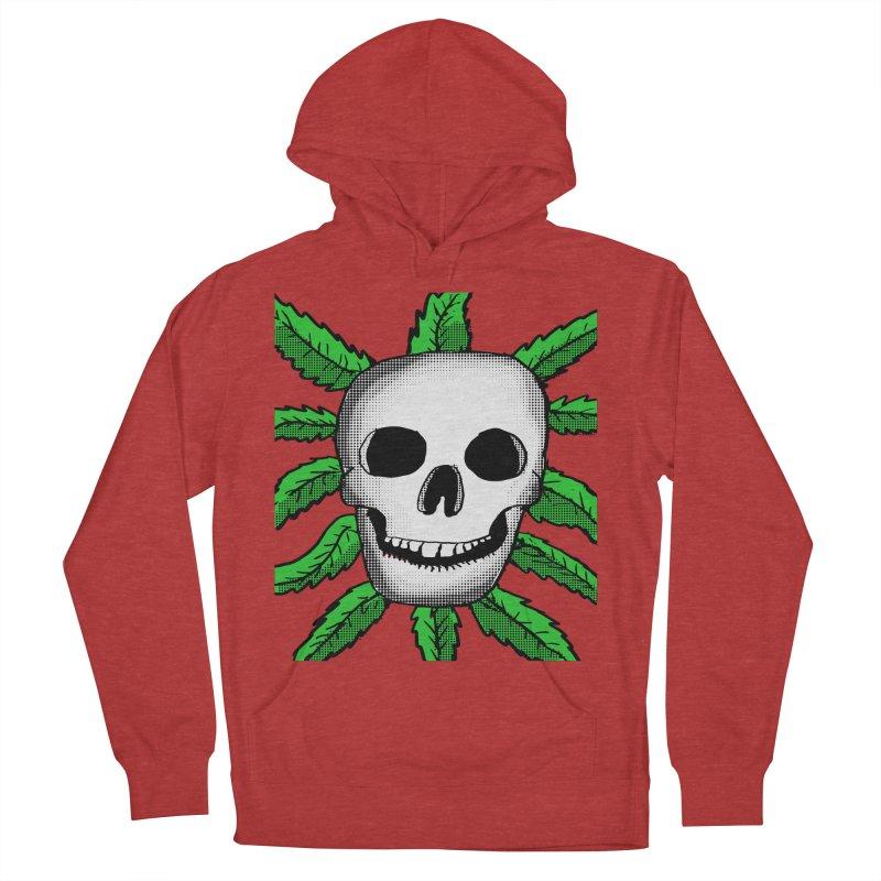 Marijuana Leaves Skull Men's French Terry Pullover Hoody by ericallen's Artist Shop