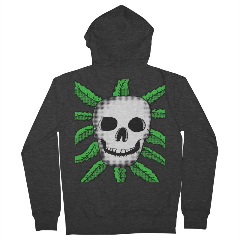 Marijuana Leaves Skull Women's French Terry Zip-Up Hoody by ericallen's Artist Shop