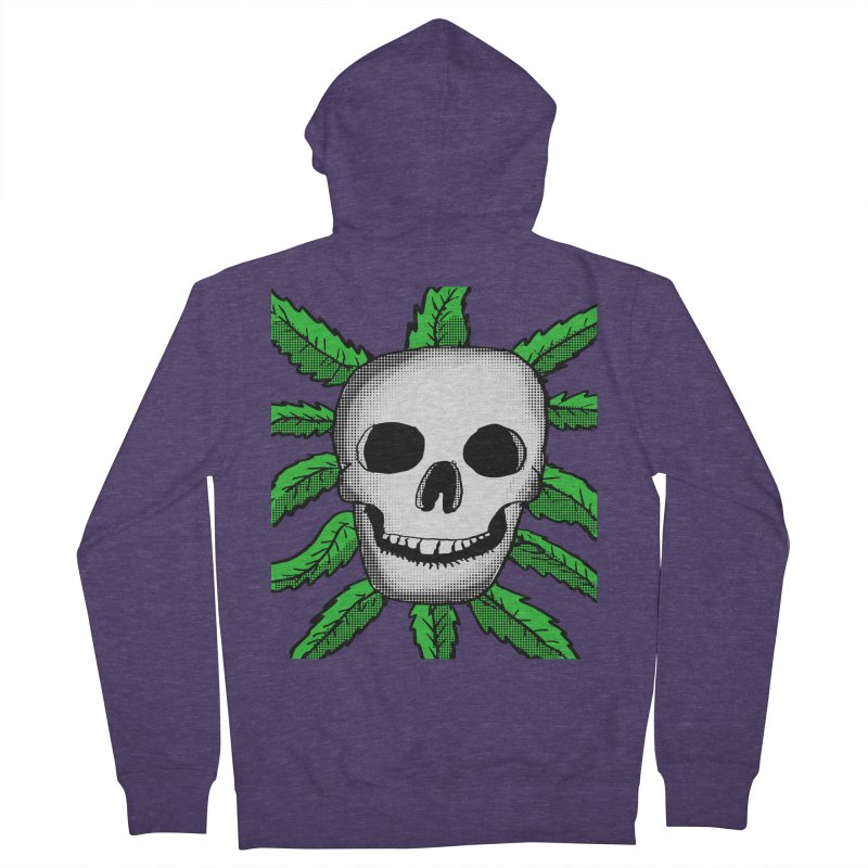 Marijuana Leaves Skull Men's French Terry Zip-Up Hoody by ericallen's Artist Shop