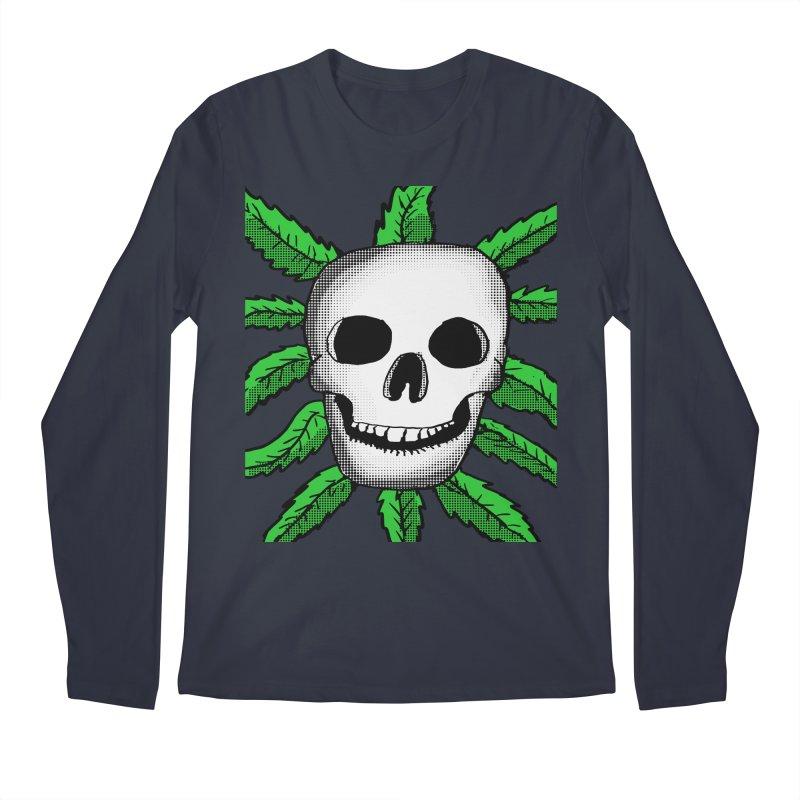 Marijuana Leaves Skull Men's Regular Longsleeve T-Shirt by ericallen's Artist Shop