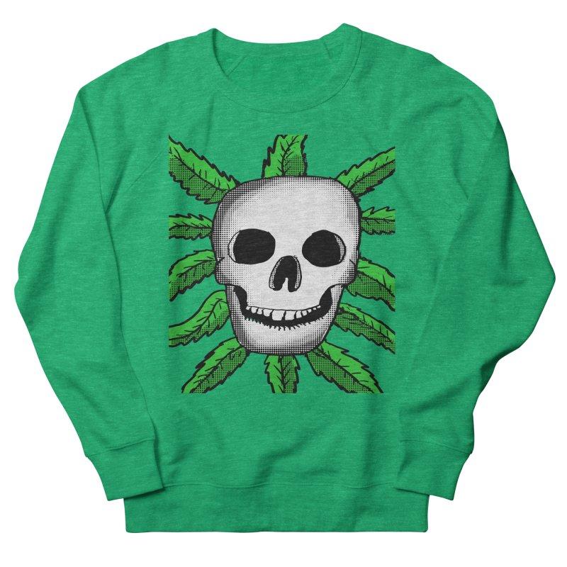 Marijuana Leaves Skull Women's French Terry Sweatshirt by ericallen's Artist Shop