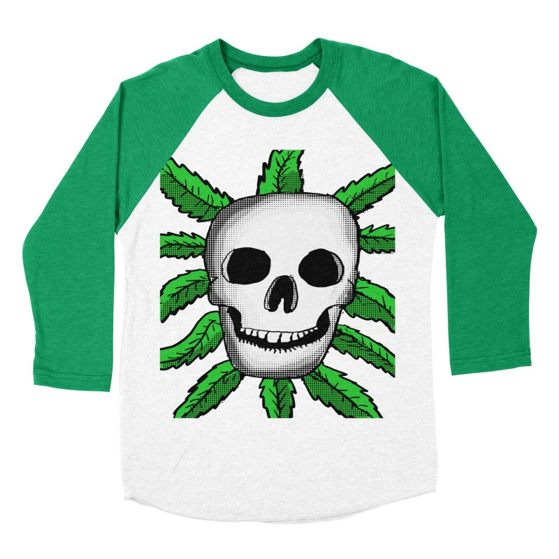 Marijuana Leaves Skull Women's Baseball Triblend Longsleeve T-Shirt by ericallen's Artist Shop