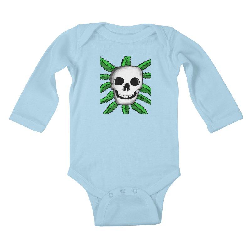 Marijuana Leaves Skull Kids Baby Longsleeve Bodysuit by ericallen's Artist Shop