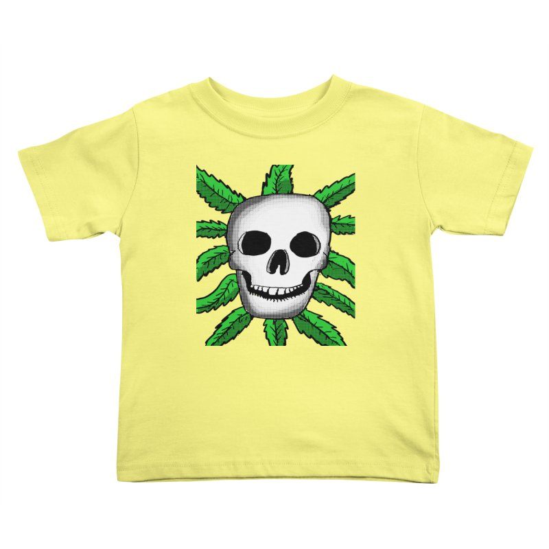 Marijuana Leaves Skull Kids Toddler T-Shirt by ericallen's Artist Shop