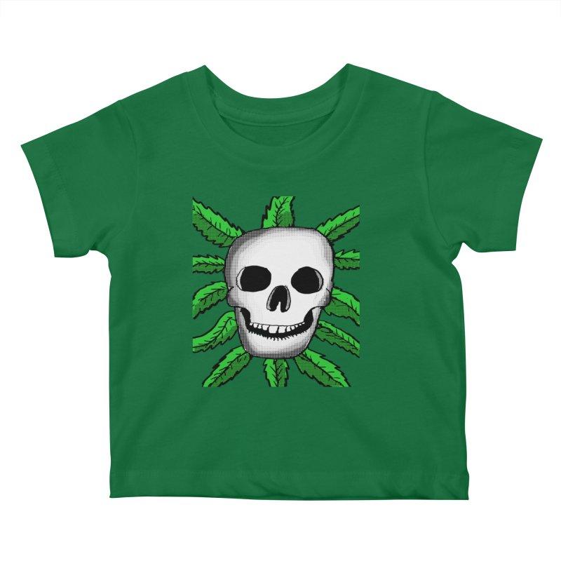 Marijuana Leaves Skull Kids Baby T-Shirt by ericallen's Artist Shop