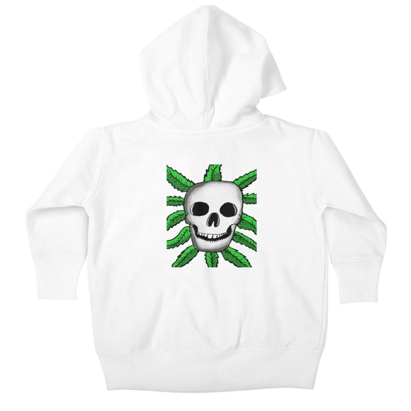 Marijuana Leaves Skull Kids Baby Zip-Up Hoody by ericallen's Artist Shop