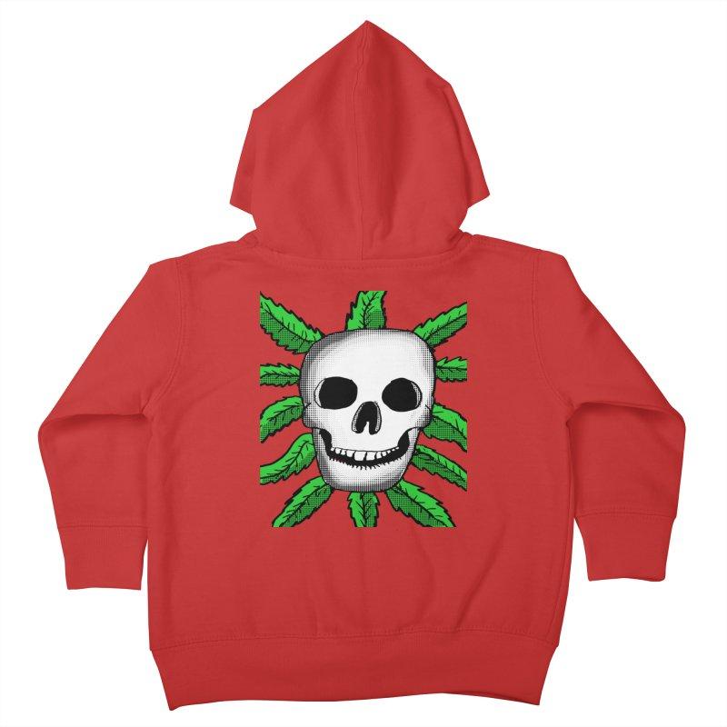 Marijuana Leaves Skull Kids Toddler Zip-Up Hoody by ericallen's Artist Shop