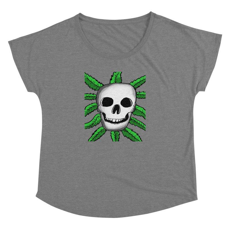 Marijuana Leaves Skull Women's Dolman Scoop Neck by ericallen's Artist Shop