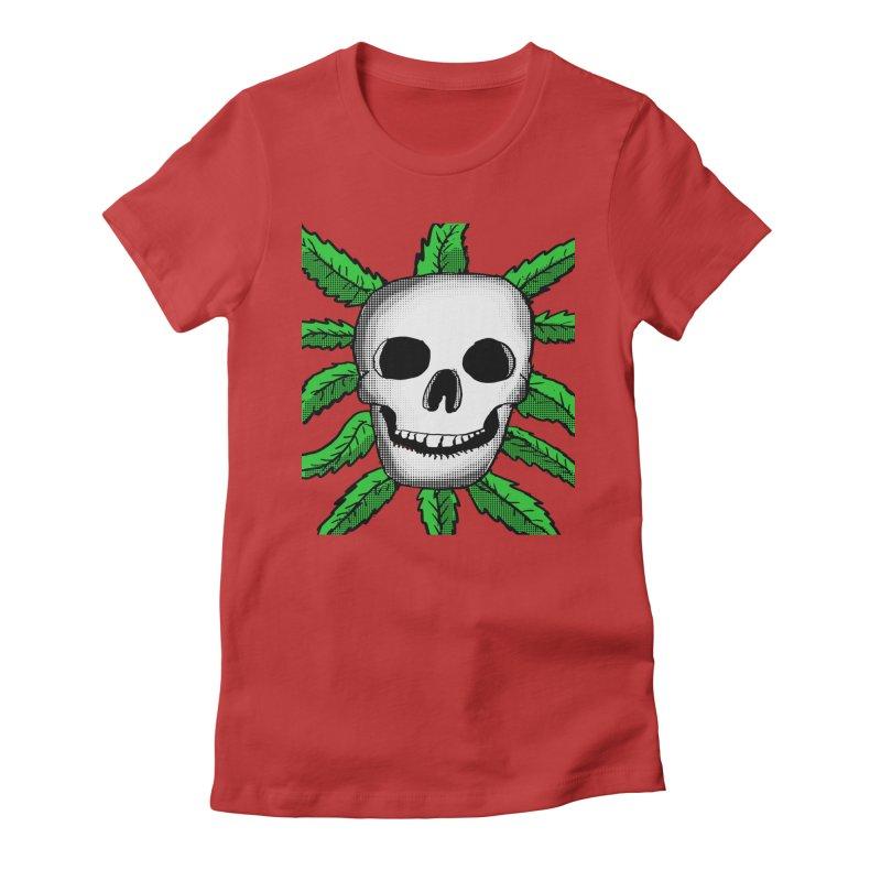 Marijuana Leaves Skull Women's Fitted T-Shirt by ericallen's Artist Shop
