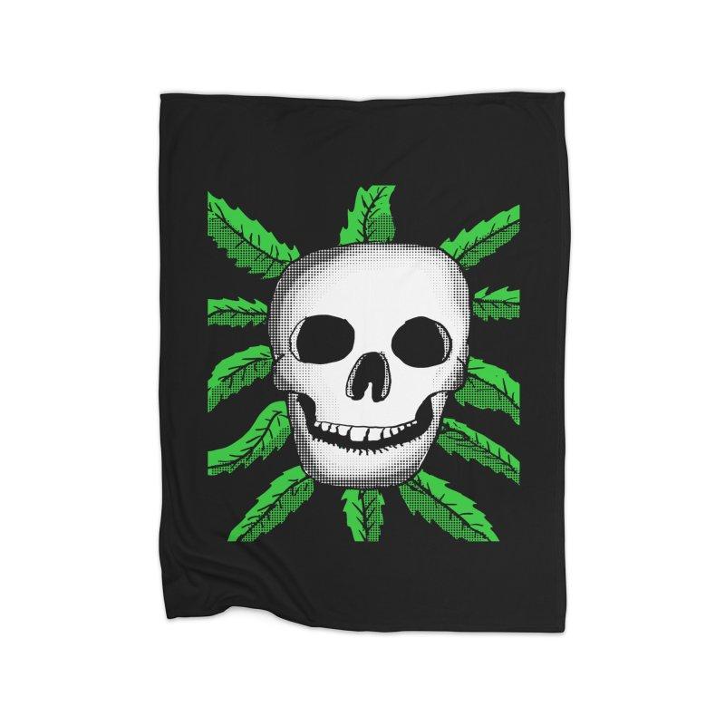 Marijuana Leaves Skull Home Blanket by ericallen's Artist Shop