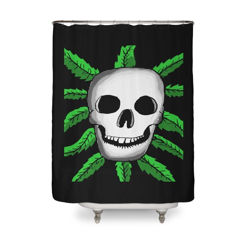 Marijuana Leaves Skull Home Shower Curtain by ericallen's Artist Shop