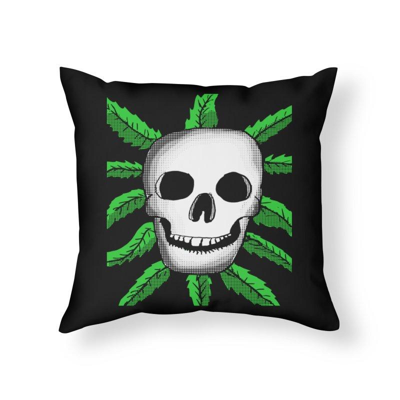 Marijuana Leaves Skull Home Throw Pillow by ericallen's Artist Shop