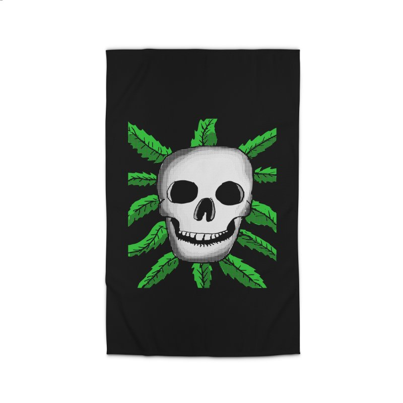 Marijuana Leaves Skull Home Rug by ericallen's Artist Shop