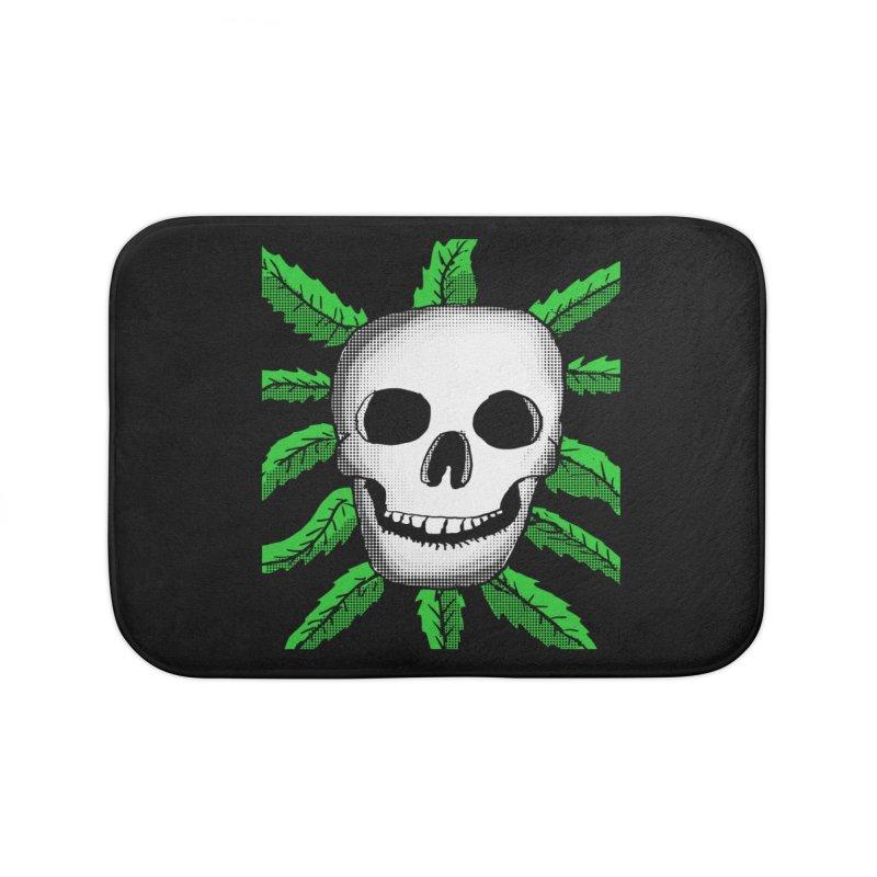 Marijuana Leaves Skull Home Bath Mat by ericallen's Artist Shop