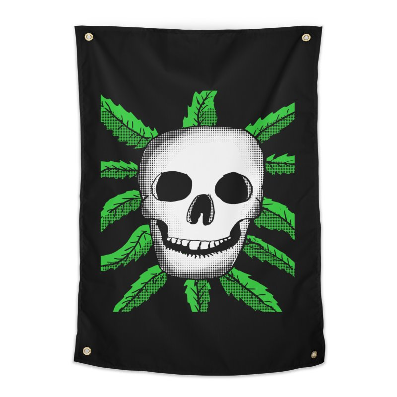 Marijuana Leaves Skull Home Tapestry by ericallen's Artist Shop