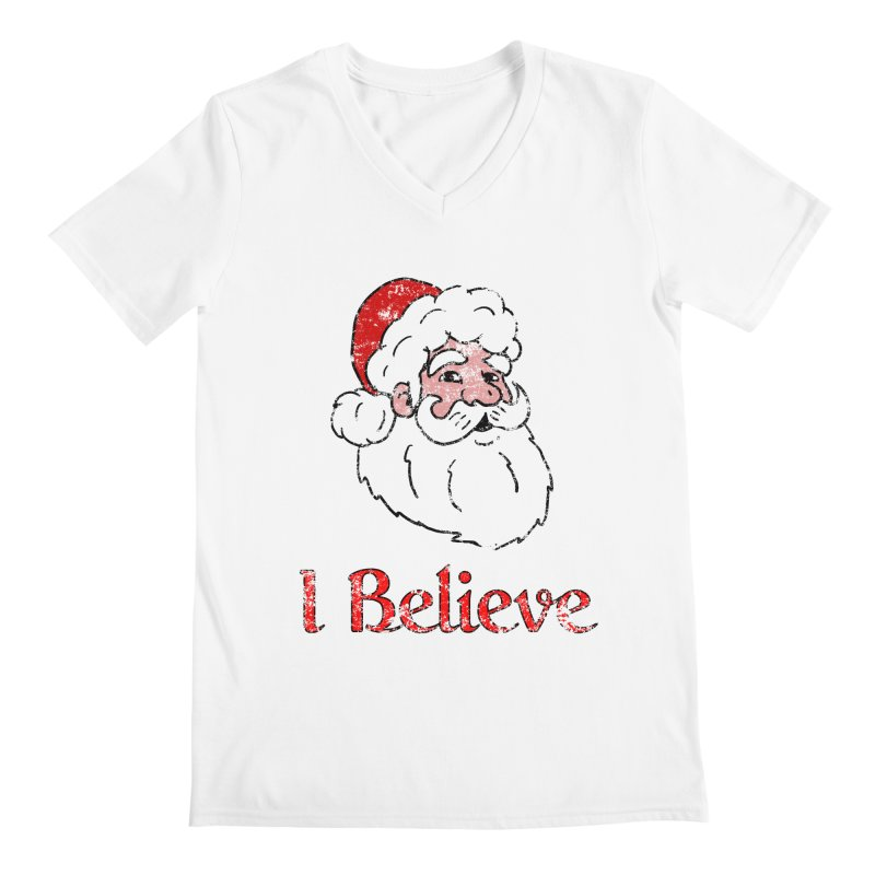 Vintage I believe santa 1 Men's Regular V-Neck by ericallen's Artist Shop