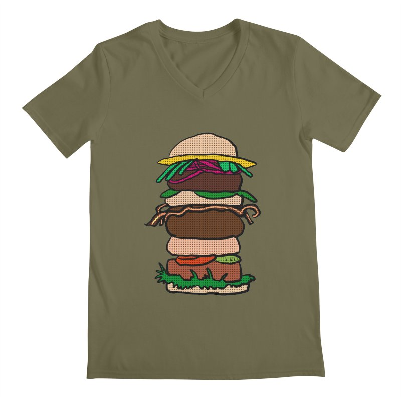 Mega Burger Men's Regular V-Neck by ericallen's Artist Shop
