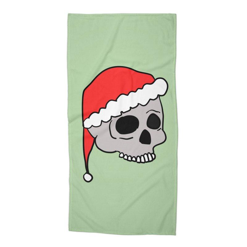 Santa Cap Skull Accessories Beach Towel by ericallen's Artist Shop