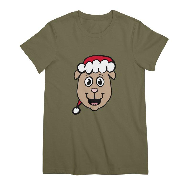Xmas Puppy Head Women's Premium T-Shirt by ericallen's Artist Shop
