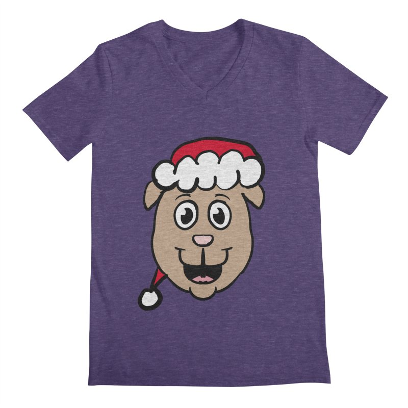 Xmas Puppy Head Men's Regular V-Neck by ericallen's Artist Shop