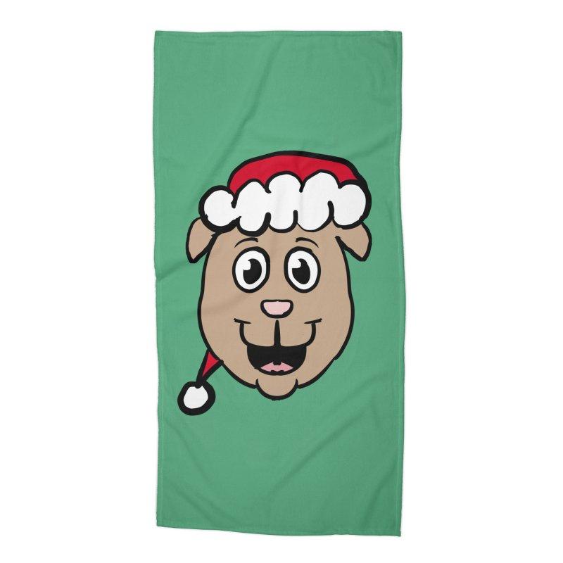 Xmas Puppy Head Accessories Beach Towel by ericallen's Artist Shop