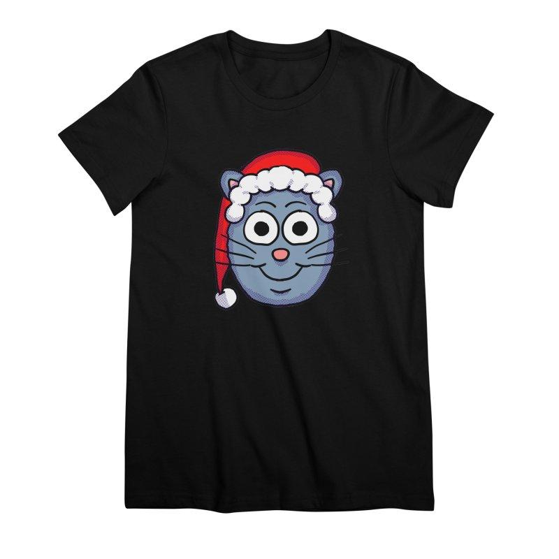 Santa Cap Kitty Women's Premium T-Shirt by ericallen's Artist Shop