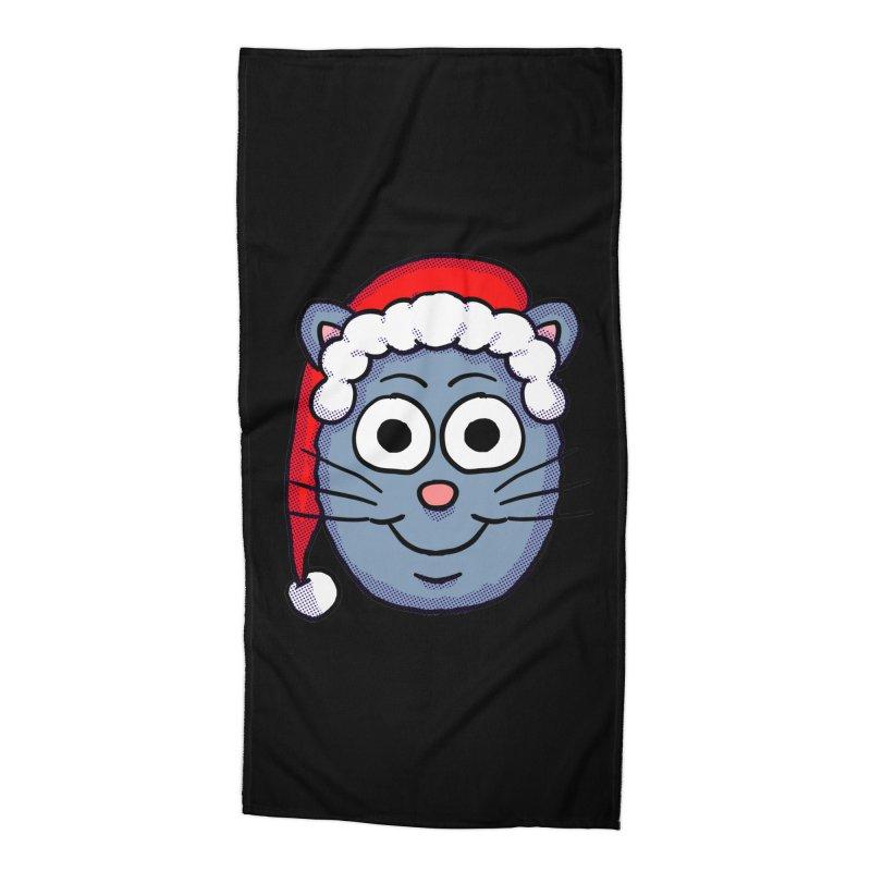 Santa Cap Kitty Accessories Beach Towel by ericallen's Artist Shop