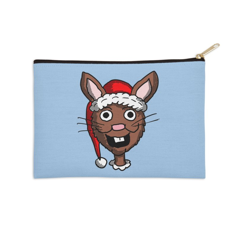 Xmas Bunny head 2 Accessories Zip Pouch by ericallen's Artist Shop