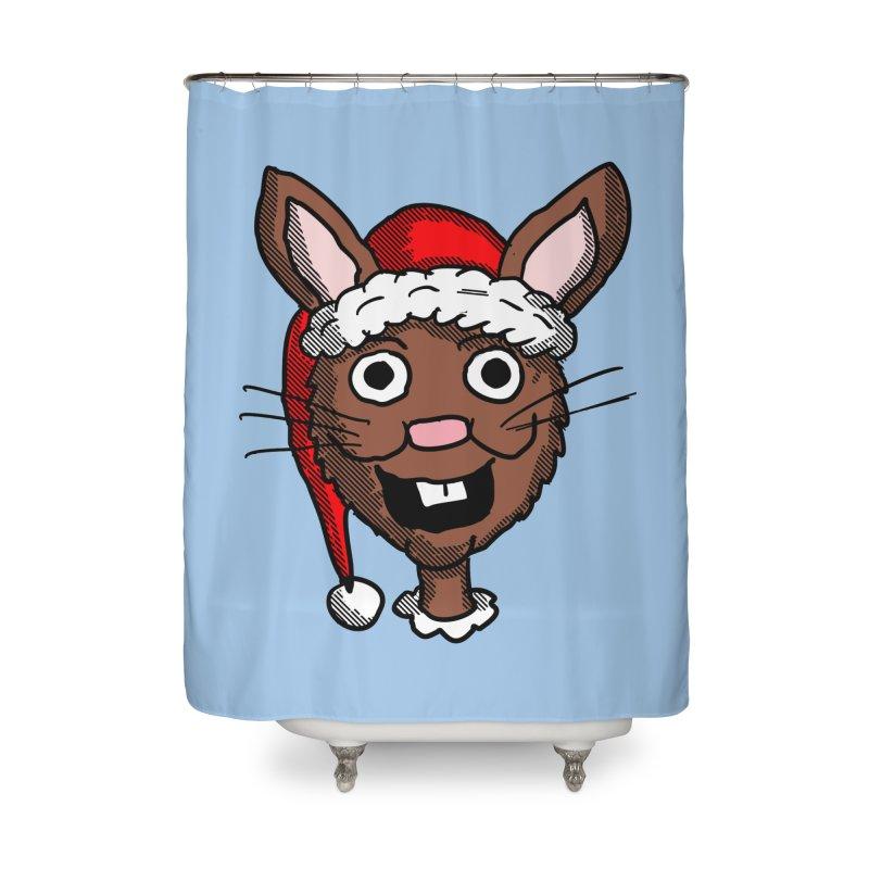 Xmas Bunny head 2 Home Shower Curtain by ericallen's Artist Shop