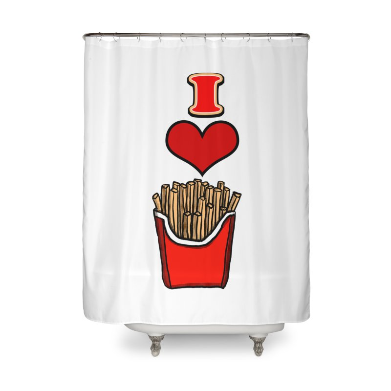 I Heart French Fries 1 Home Shower Curtain by ericallen's Artist Shop