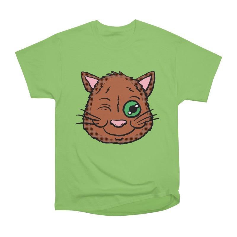 Winking Cat head Women's Heavyweight Unisex T-Shirt by ericallen's Artist Shop