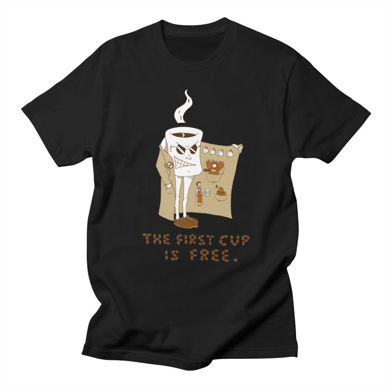 The First Cup Is Free Men's T-shirt by ericboekercomics's Artist Shop
