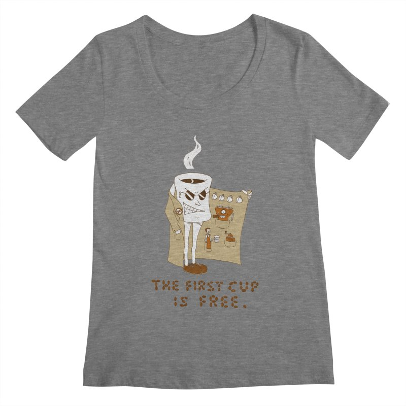 The First Cup Is Free Women's Scoopneck by ericboekercomics's Artist Shop