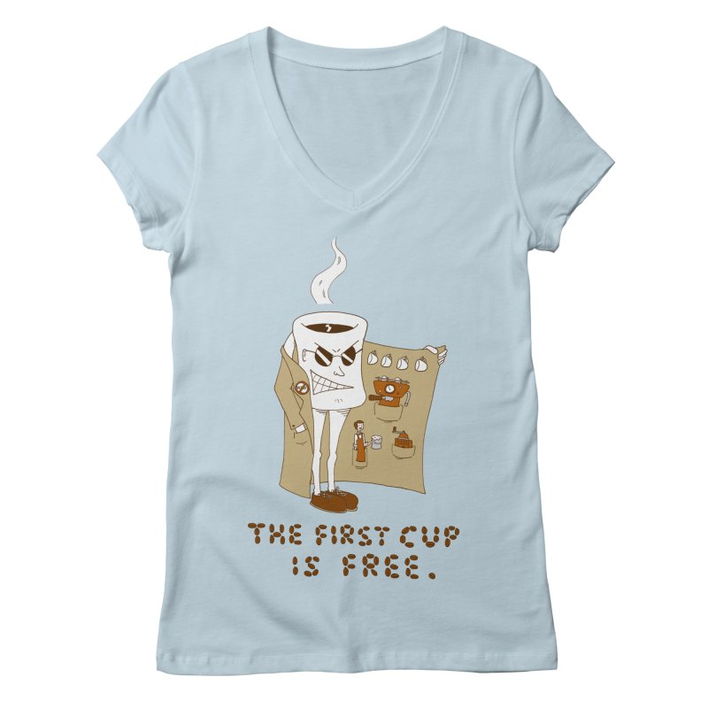 The First Cup Is Free Women's V-Neck by ericboekercomics's Artist Shop