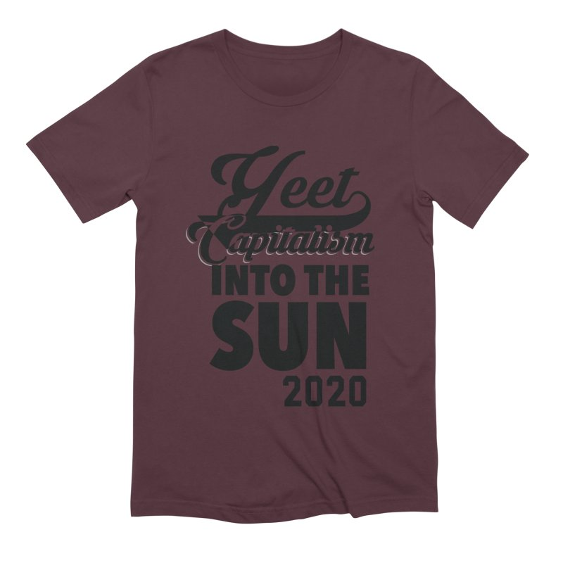 Yeet Capitalism Into The Sun on red Men's Extra Soft T-Shirt by eric cash
