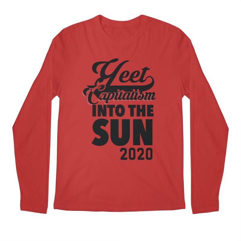 Yeet Capitalism Into The Sun on red Men's Regular Longsleeve T-Shirt by eric cash