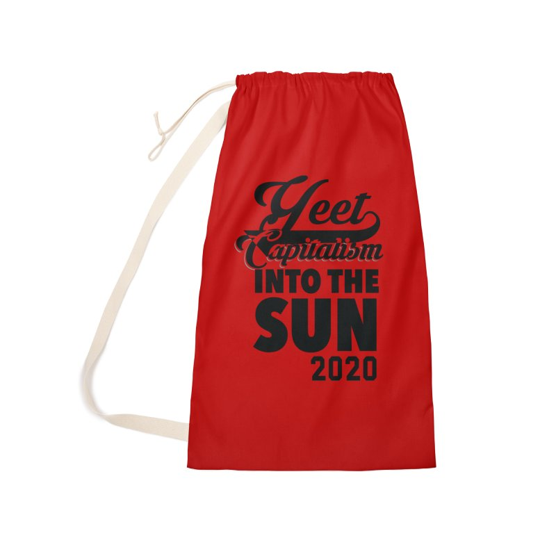 Yeet Capitalism Into The Sun on red Accessories Laundry Bag Bag by eric cash