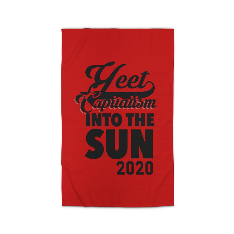 Yeet Capitalism Into The Sun on red Home Rug by eric cash