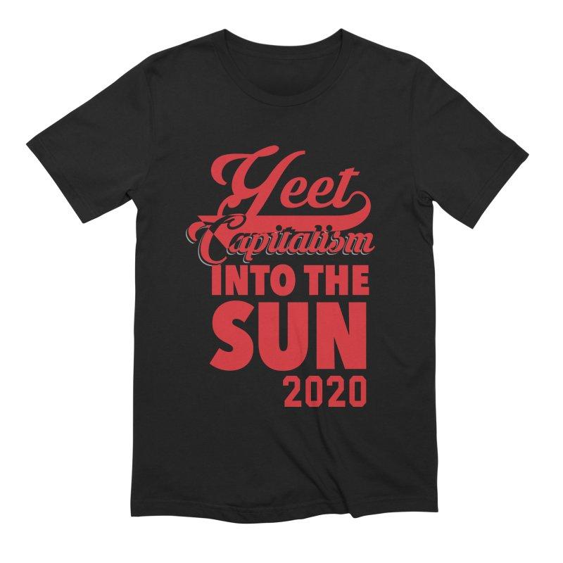 Yeet Capitalism Into The Sun on black Men's T-Shirt by eric cash