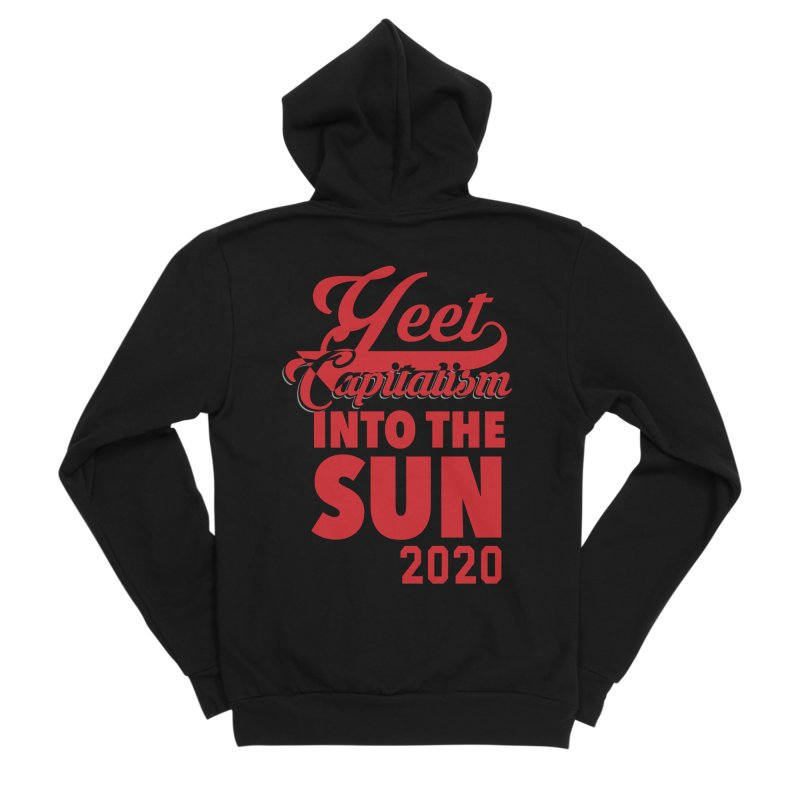 Yeet Capitalism Into The Sun on black Men's Zip-Up Hoody by eric cash